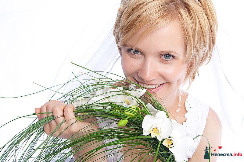 Букет невесты из белых орхидей и зеленого берграсса  - фото 129610 photoAMplua