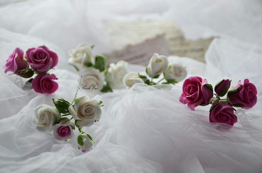 Шпильки с кустовой розой. - фото 1317540 ParkIra - украшения цветами из полимерной глины