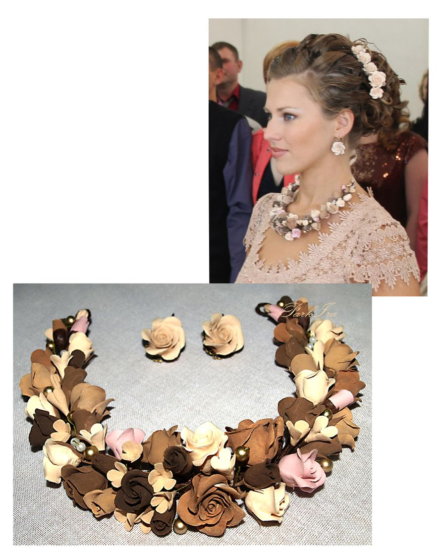 Колье с розами - фото 1317578 ParkIra - украшения цветами из полимерной глины