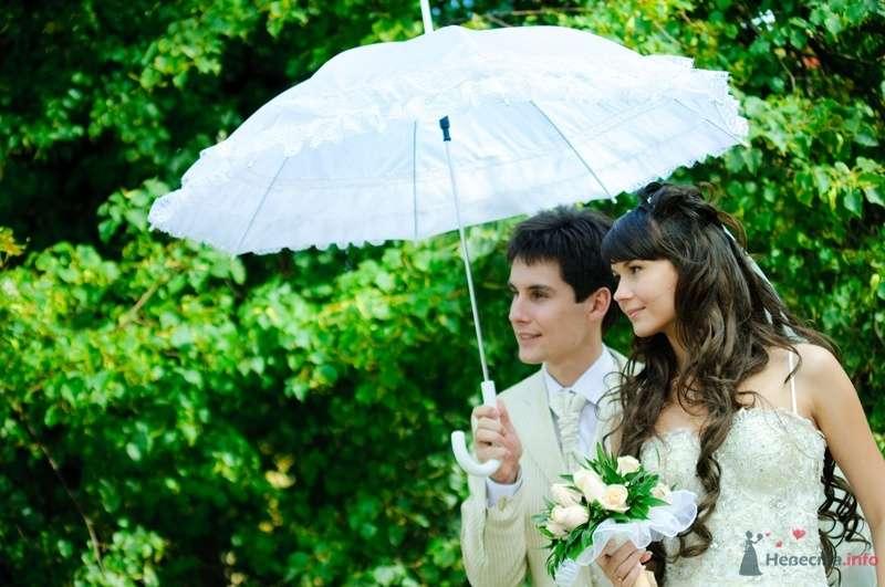 В руках жениха и невесты белый зонт с кружевными рюшами - фото 40104 Rainbow