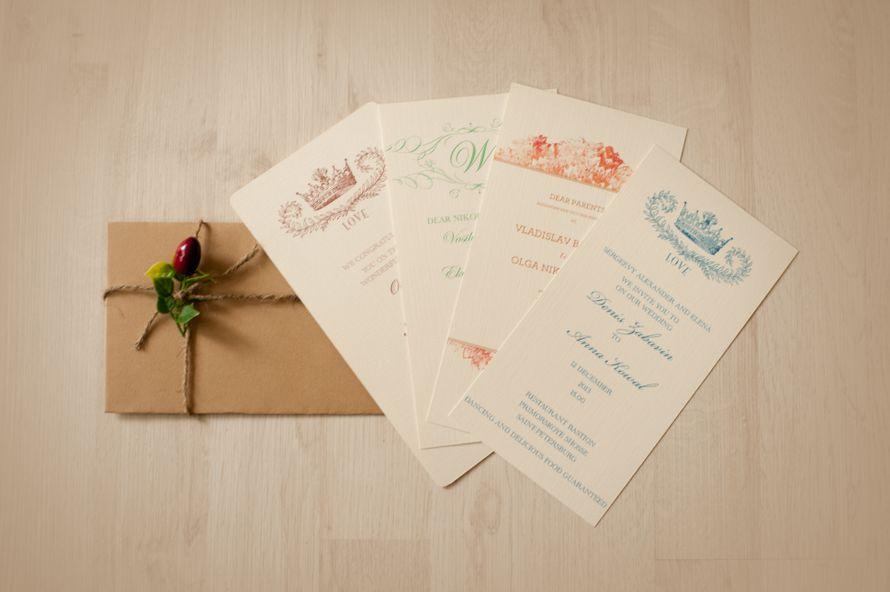 Пригласительные на  свадьбу (дизайнерская бумага, индивидуальный конверт,декор конверта) - фото 1366780 Art агентство Basilic