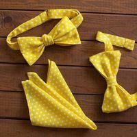 Желтый комплект: бабочка-бант, галстук-бабочка самовяз и платок. Галстук-бабочка с пришитым бантом - 600р. самовяз - 900р. Платочек - 400р.  Чтобы заказать пишите в л.с.