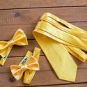 Свадебный комплект: детская и взрослая галстук-бабочки и галстук желтого цвета. Галстук-бабочка - 600р. Галстук - 1200р.  Чтобы заказать пишите в л.с.