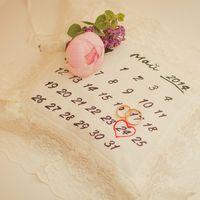 Подушечка для колец в виде календарного листа на свадьбе Татьяны и Сергея 24 мая 2014