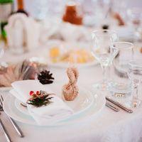 Салфетки украшены веточкой туи с красными ягодками и перевязаны бечевкой, подарочки  гостям - мед в мешковине с красной бусинкой