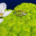 Зелёная подушечка для колец с цветком орхидеи