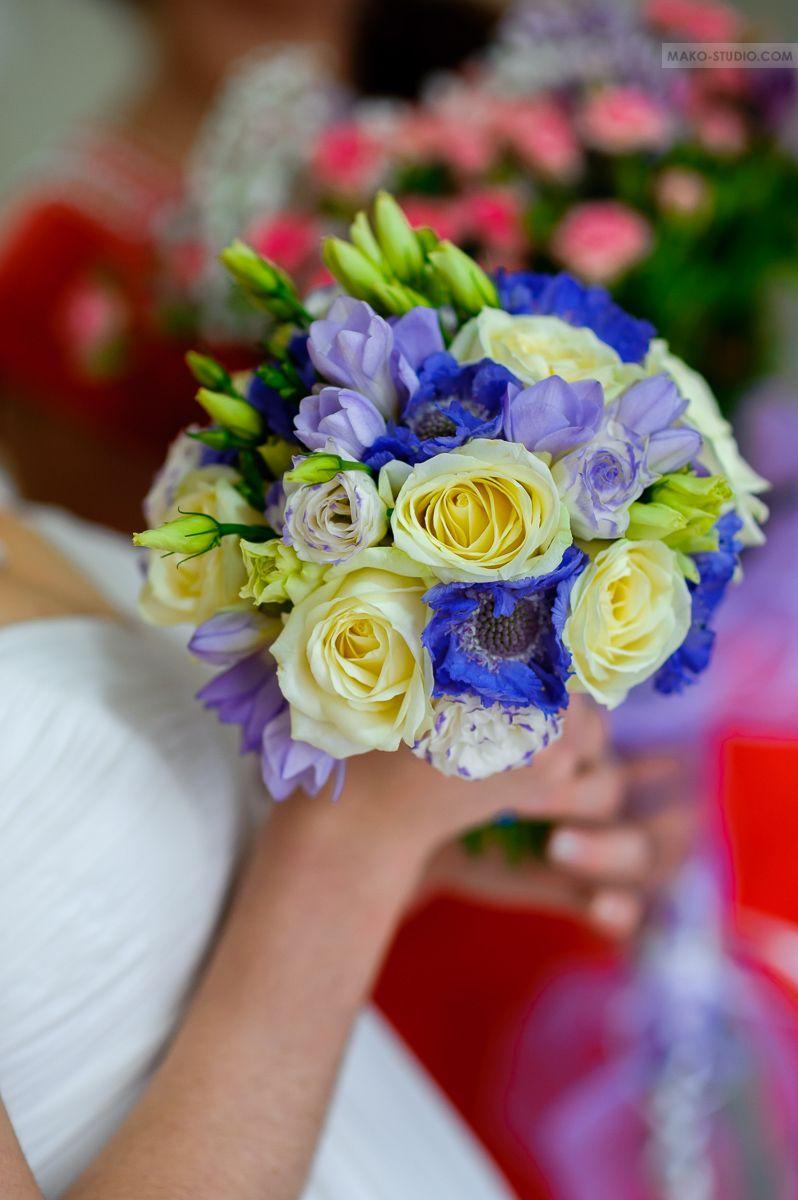 Цветов, букет невесты сине фиолетовый