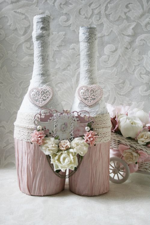 Украшение бутылки шампанского с фото на свадьбу своими руками