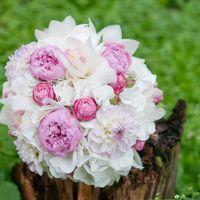 Букет невесты из пионов, гортензий, астр и орхидей в бело-розовых тонах