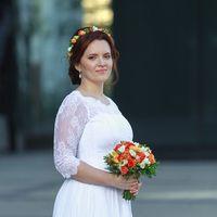 оранжевый букет невесты венок