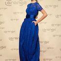 Синие кружевное платье подружки невесты