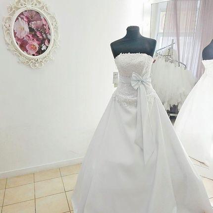 Платье атласное с декольте А1834