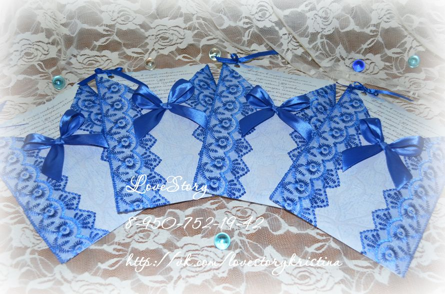 """Свадебное приглашение-конверт с вкладышем """"Луиза"""" в королевском синем цвете - фото 4421573 Студия аксессуаров Кристины Тишковой"""