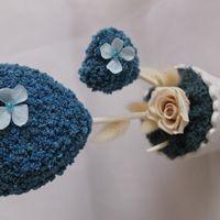"""Топиарий """"синее небо"""" из стабилизированного амаранта, розы, гортензии и сухоцветов"""