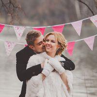 нежно-розовые флажки на свадебную фотосессию