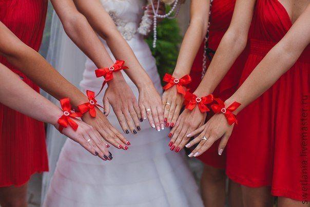 Браслеты подружкам невесты из лент