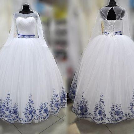 """Платье """"Джесс 264"""" с синей вышивкой"""