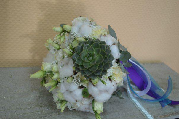 Букет невесты из хлопка, эустомы, озотамнуса и суккулентика!!! - фото 2536401 Барбарис studio - студия флористики, декора