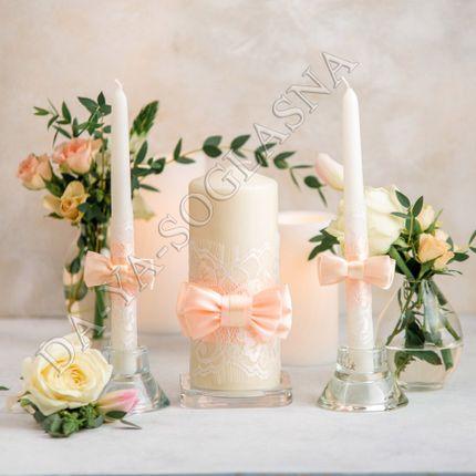 """Свадебные свечи ручной работы """"Персик"""""""