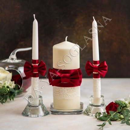 """Свадебные свечи """"Бордо"""""""