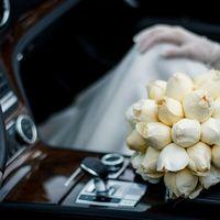 Бежевые розы. Букет невесты