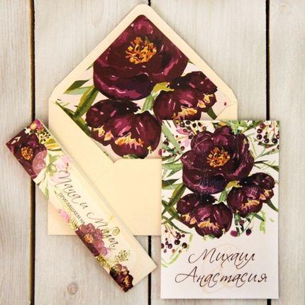 Цветочные пригласительные в конвертах ручной сборки, цена за 1 шт