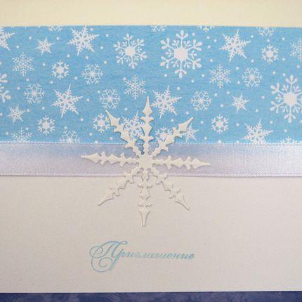 Приглашение на свадьбу Зимнее со снежинкой