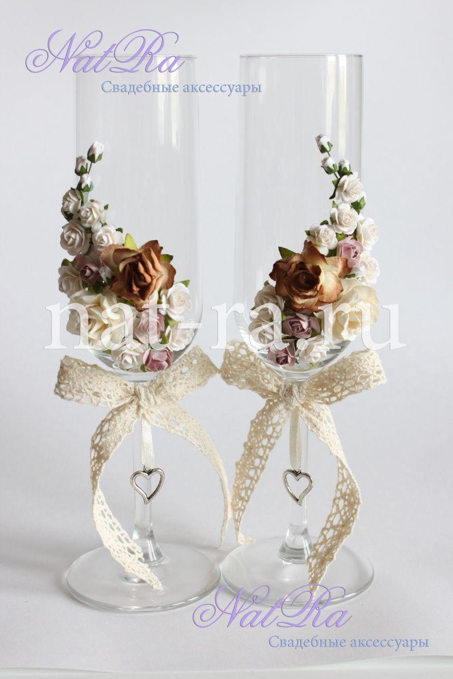 """Свадебные бокалы в ретро стиле стоимость 900 р/пару - фото 1925673 Студия свадебных аксессуаров """"NatRa"""""""