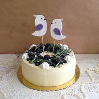 Свадебный торт с ягодами и птичками