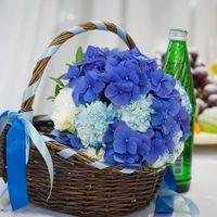 Букет невесты из ярко-синих гортензий, белых и бело-голубых гвоздик в коричневой плетеной корзинке, декорированной голубой лентой
