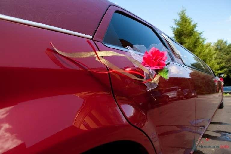 Красный цветок в разноцветных ленточках- украшение дверей свадебного авто. - фото 41850 КатёночкаИзЗелика