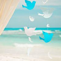 птички, бумага, гирлянда, море, карибы, свадьба за границей, доминикана