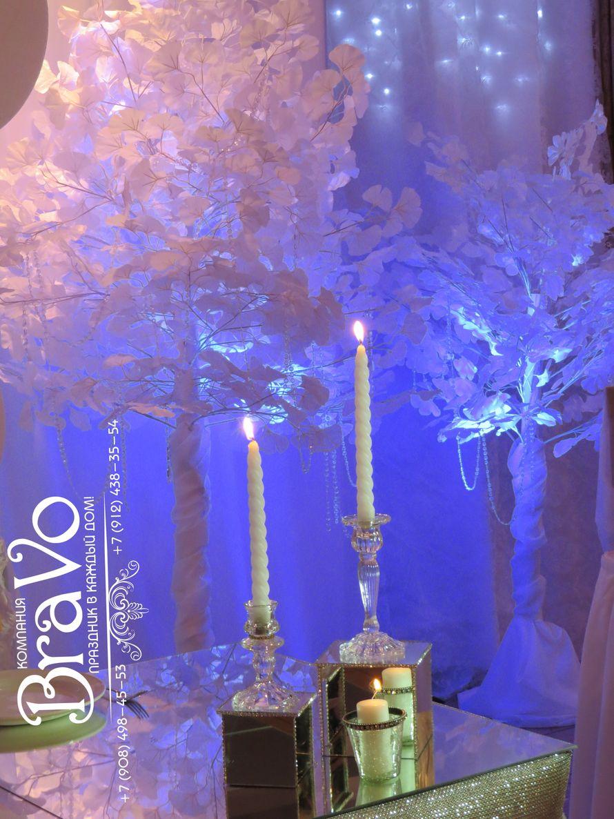"""Свадьба в стиле """"Зимняя сказка"""" Олега и Татьяны 5 декабря  2015 года со стеклянными подсвечниками. напоминающими лед... - фото 8197532 """"Bravo"""" - студия декора"""