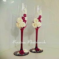 """Свадебные бокалы """"В цвете вишня"""""""