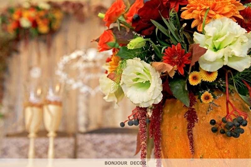 Букет из оранжевых и бордовых хризантем, амаранта, оранжевой веточной хризантемы, лизиантуса, желтых и веточных коралловых роз, - фото 3606725 Bonjour decor - студия авторского декора
