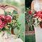 Необычный букет в стиле бохо в цвете марсала