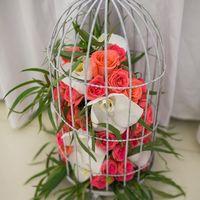 Клетка с цветами для украшения зала