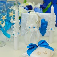 Альбом, бокалы, свечи и подушечка для колец в морском стиле