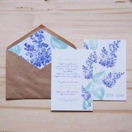 """Приглашение на свадьбу """"Watercolor lilac"""""""
