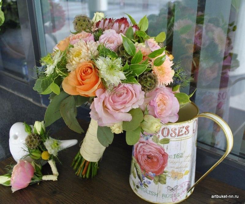 букет с царственной протеей, скабиозой и розами ДО - фото 3173247 Артбукет - флористика