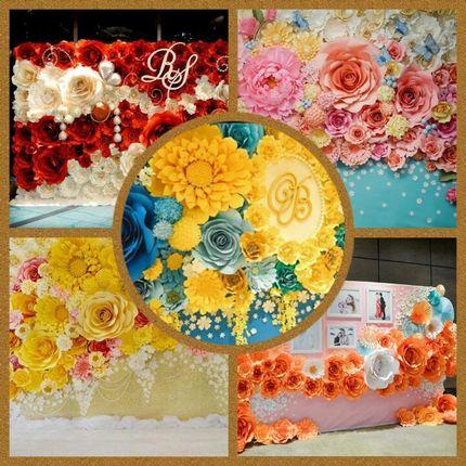 Оформление бумажными цветами