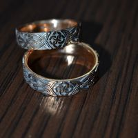 """Обручальные кольца из красного золота 585, с чернением и орнаментом """"Свадебник"""""""