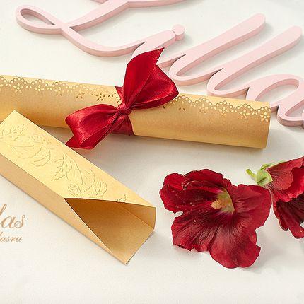 """Свадебное приглашение """"Золотая и марсала"""""""