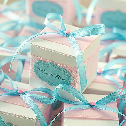 Бонбоньерки в розово голубом цвете