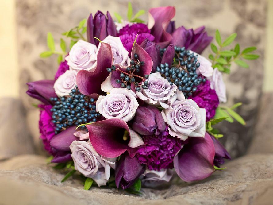 """Букет невесты , фиолетово-сливовая гамма, студия """"Настя Рай"""" - фото 9858056 """"Настя Рай"""" - платья, аксессуары, цветы и декор"""