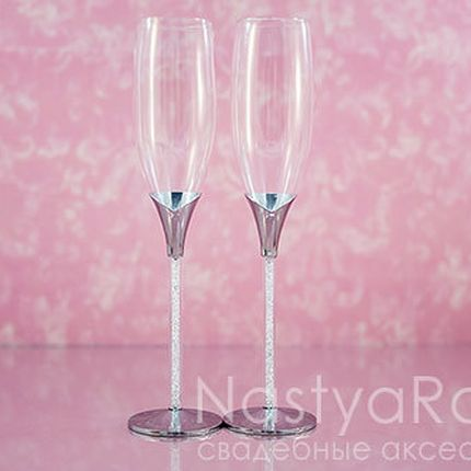 Свадебные бокалы с кристаллами в ножке