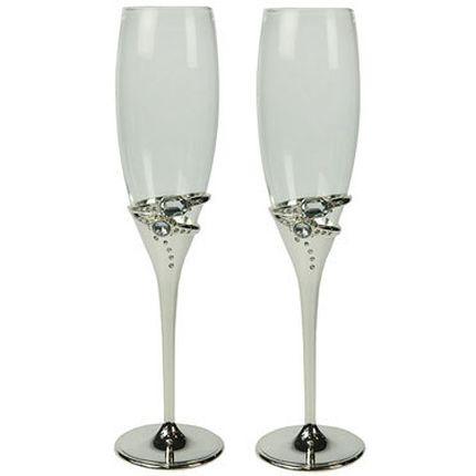 Серебряные бокалы на свадьбу с кольцами