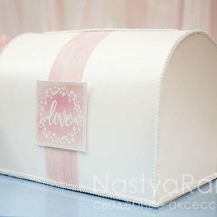 Коробка для конвертов розовая акварель