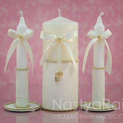 Набор свечей ключик и замочек с золотом