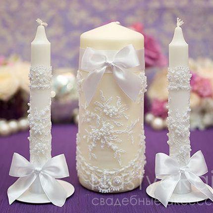 Свадебные свечи с кружевом белые
